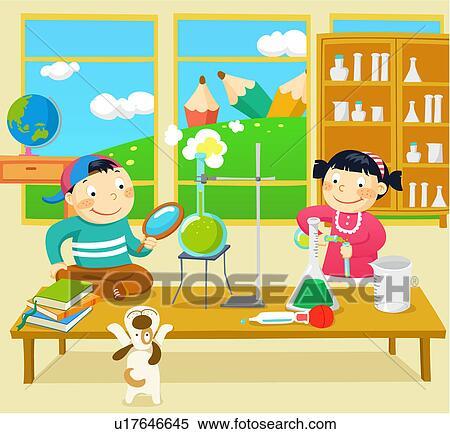 School Window Clipart stock illustration of window, schoolkid, science class, girl, boy
