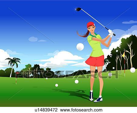 Clip Art of Woman golfer u14839472 - Search Clipart ... Golf Hole Clip Art