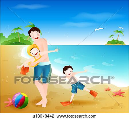 Clip Art of Family playing on the beach u13078442 - Search ...