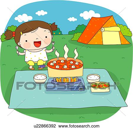 Clip Art Of Field Trip Food Cooking Camping Sky Travel