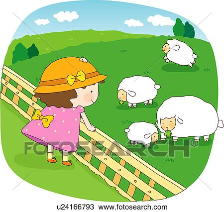 Sheep Flock Drawing Drawing Stock Farm Children