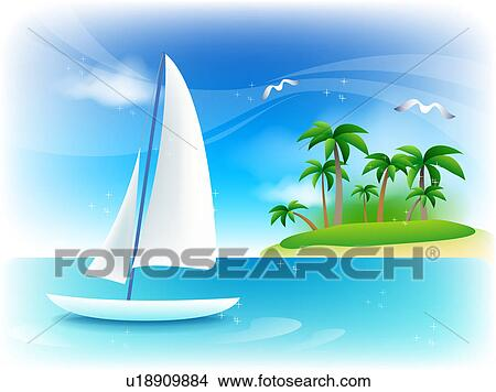 Boat Scenery Drawing Drawing Landscape