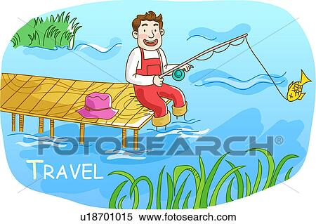 Stock Illustration Of Sitting Pond Deck River Lake Vacation