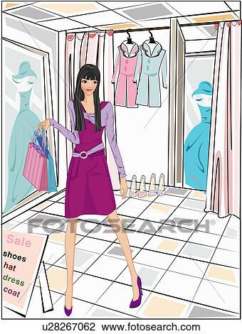 Clip Art Of Woman In Dressing Room U28267062