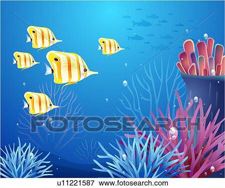 Stock Illustration Of Tropical Fish Underwater U11221587