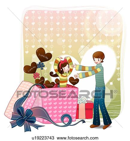 dessin amant bo te cadeau ami fille gar on ami couple u19223743 recherchez des cliparts. Black Bedroom Furniture Sets. Home Design Ideas