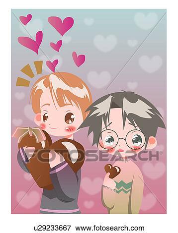 Stock Illustration of heart, chocolate, girl, boy, child ...
