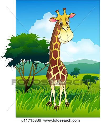 Stock illustration of giraffe in african grassland u11715836 stock illustration giraffe in african grassland fotosearch search clip art drawings voltagebd Choice Image