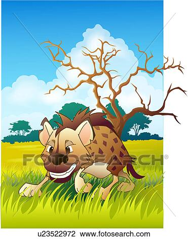 Clip art of hyena in the grassland u23522972 search clipart clip art hyena in the grassland fotosearch search clipart illustration posters voltagebd Choice Image