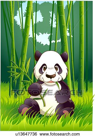 Stock Illustration of vertebrate, panda, animal, bamboo ...