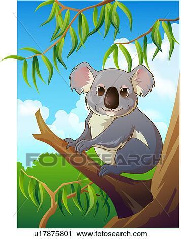 Clipart koala ind en træ fotosearch søg i clipart