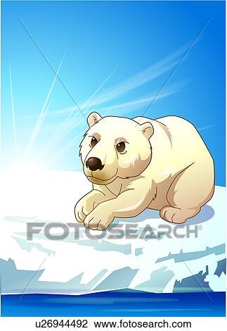 Clip Art of Polar Bear on Ice u26944492 - Search Clipart ...
