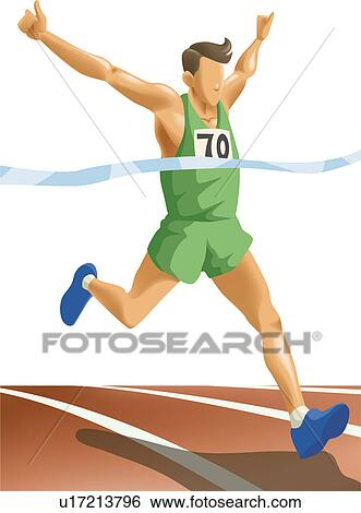 Stock Illustration of Crossing the finish line first u17213796 ...