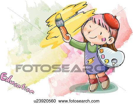 stock illustration girl children kid kids kid paint child - Drawings For Kids To Paint