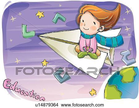 Children kid kids kid paper plane child view large illustration