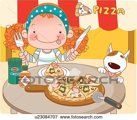 Dog Eating Clipart Girl And Dog Eating Pizza