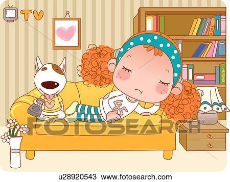 Drawing of Girl and Dog Resting on Couch u28920543 ...
