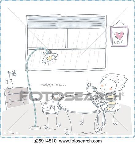 클립 일러스트 - 창, 꽃병, 창문, 책상 램프, 서랍, 식탁, 꽃병 ...