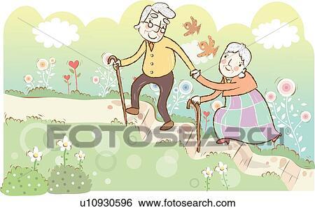 Stockillustration - gamle, par, en gåtur ydre u10930596 ...