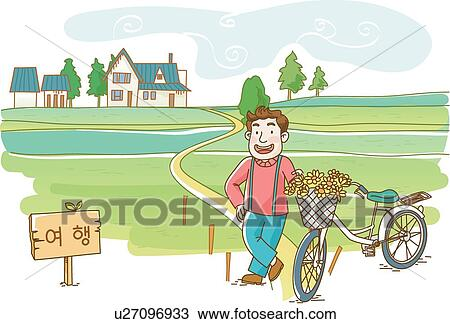 手绘图 - a, 国家, 自行车骑乘