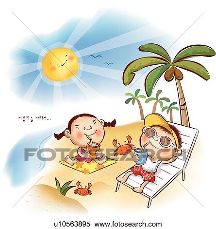 Stock Illustration of Boy and Girl Relaxing at Beach ...