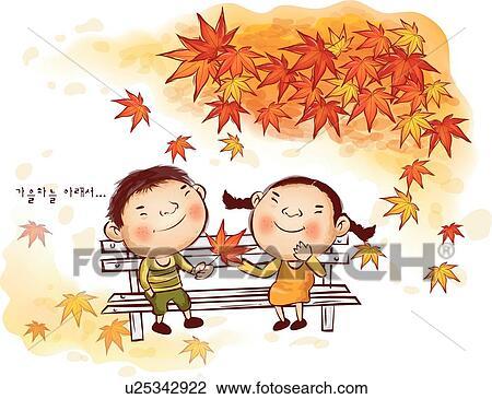 剪贴画 孩子, 在中, 秋季
