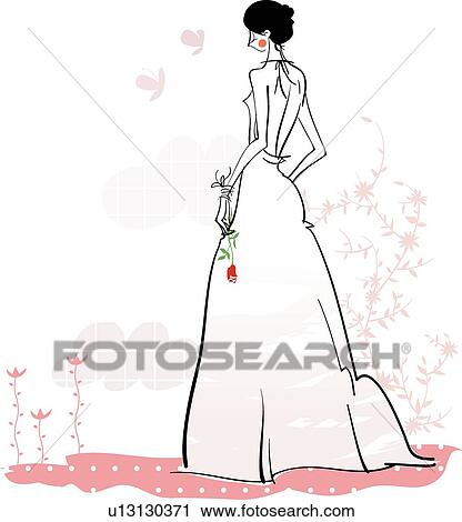 Clipart of cloud, Well-Being, Clouds, wedding dress, lady, rose ...