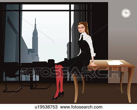 Dibujo mujer de negocios en la oficina u19538753 for Ver videos porno en la oficina