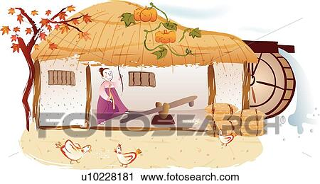 Rice Leaf Drawing Clipart Water Mill Vine