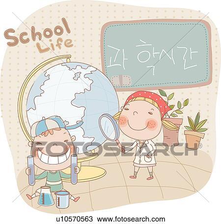 Drawing of Experimental tools, School life, Globe, classes ...