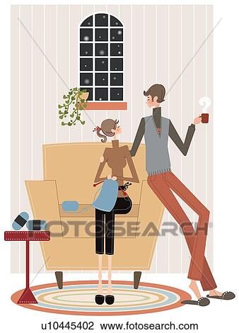 Clip Art Of Man And Woman In Conversation Sitting On Couch