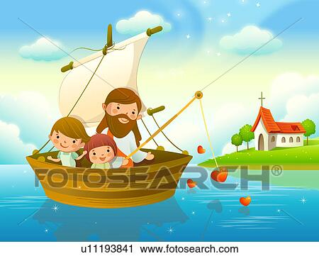 Clipart of Jesus Christ with two children fishing in a river ...