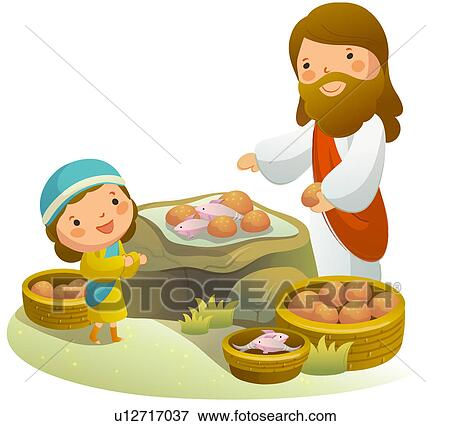 Stock Illustration of Side profile of Jesus Christ serving ...