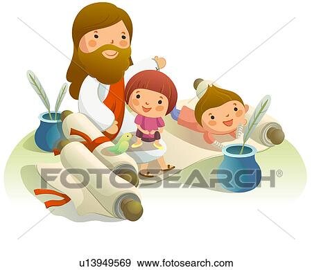 Clip Art of Jesus Christ sitting on a plant with two children ...