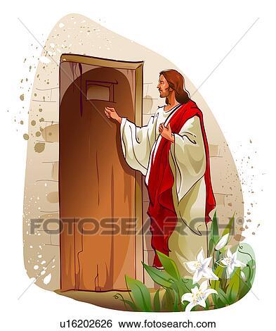 Stock illustration of jesus christ knocking on a door u16202626 jesus christ knocking on a door altavistaventures Gallery