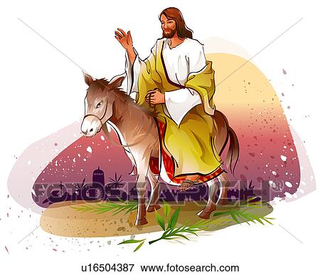 stock illustration jesus christ riding a donkey and blessing fotosearch search eps clipart