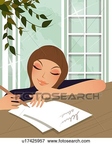 Stock Illustration of Woman writing a letter u17425957 - Search ...