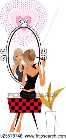 Stock Illustration of Woman sitting in front of a mirror ...