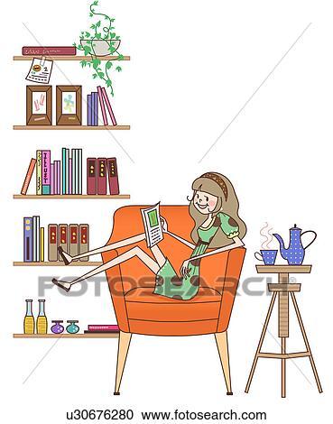 Stock illustrationen frau sitzen in ein sessel und for Sessel lesen
