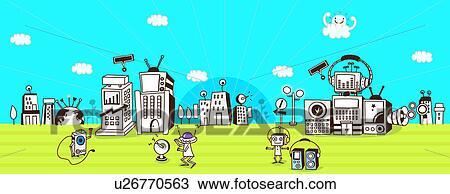 Futuristic Robot Drawings Drawing Futuristic City Run