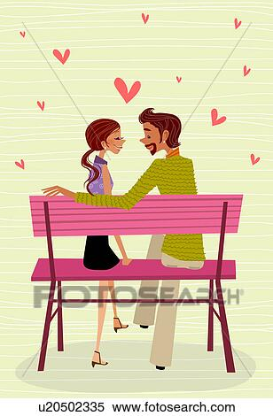 Stock Illustration Of Side Profile A Man And Woman Sitting Face