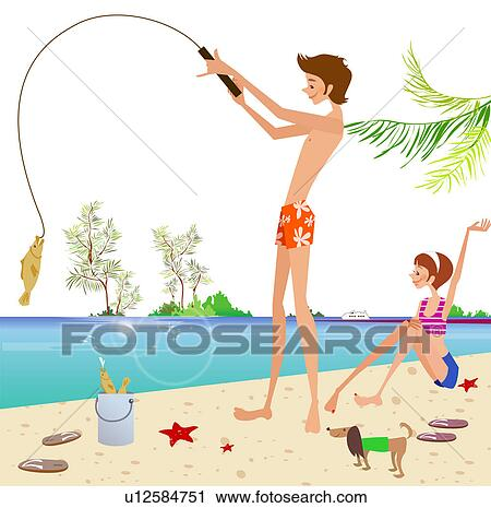 Clipart of Side profile of a man standing on the beach and fishing ...
