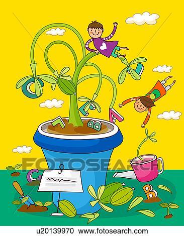 Stock illustrationen kinder spielen mit topfpflanzen for Fliegen in topfpflanzen