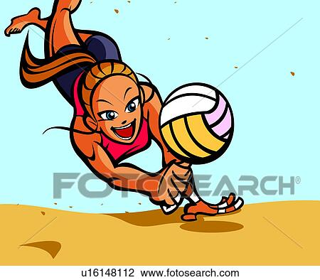Clip Art of Woman playing volleyball on the beach u16148112 ...