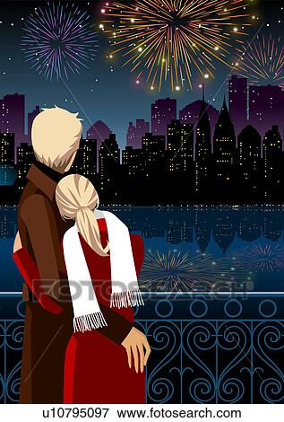 Stock Illustration of Couple watching firework display at night ...