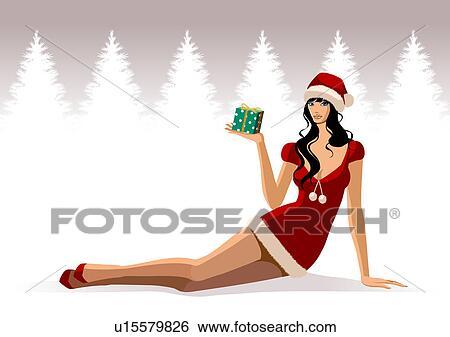 stock illustration frau besitz a weihnachtsgeschenk. Black Bedroom Furniture Sets. Home Design Ideas