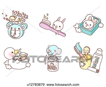 Colecci n de ilustraciones variaci n de colorido for Objetos para banarse