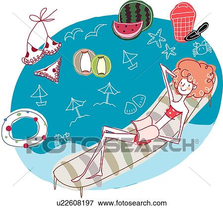 Stock illustration of woman lying on pool raft in swimming for Swimming pool drawing