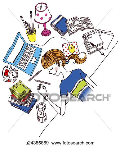 Schreibtisch büro clipart  Stock Illustration - frau, schlafen schreibtisch, in, büro ...