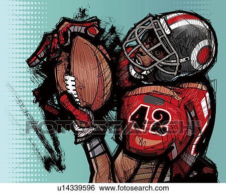 Banque d 39 illustrations joueur football am ricain football avoirs u14339596 recherche de - Dessin football americain ...